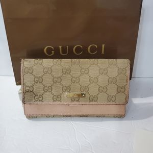 GUCCI Auth canvas GG monogram pink large wallet